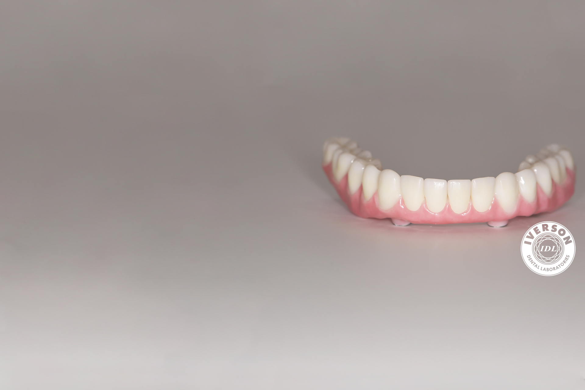 implant denture restoration with custom zirconia copings